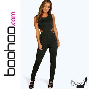 Petite Size Lynne Side Cut Out Skinny Leg Jumpsuit